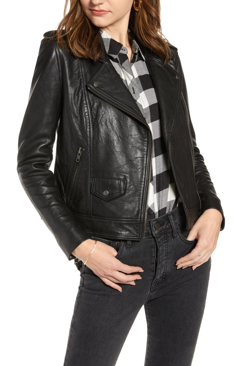 TREASURE & BOND Leather Biker Jacket, Main, color, BLACK