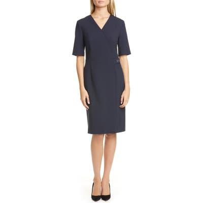 Boss Desirena Faux Wrap Dress, Blue