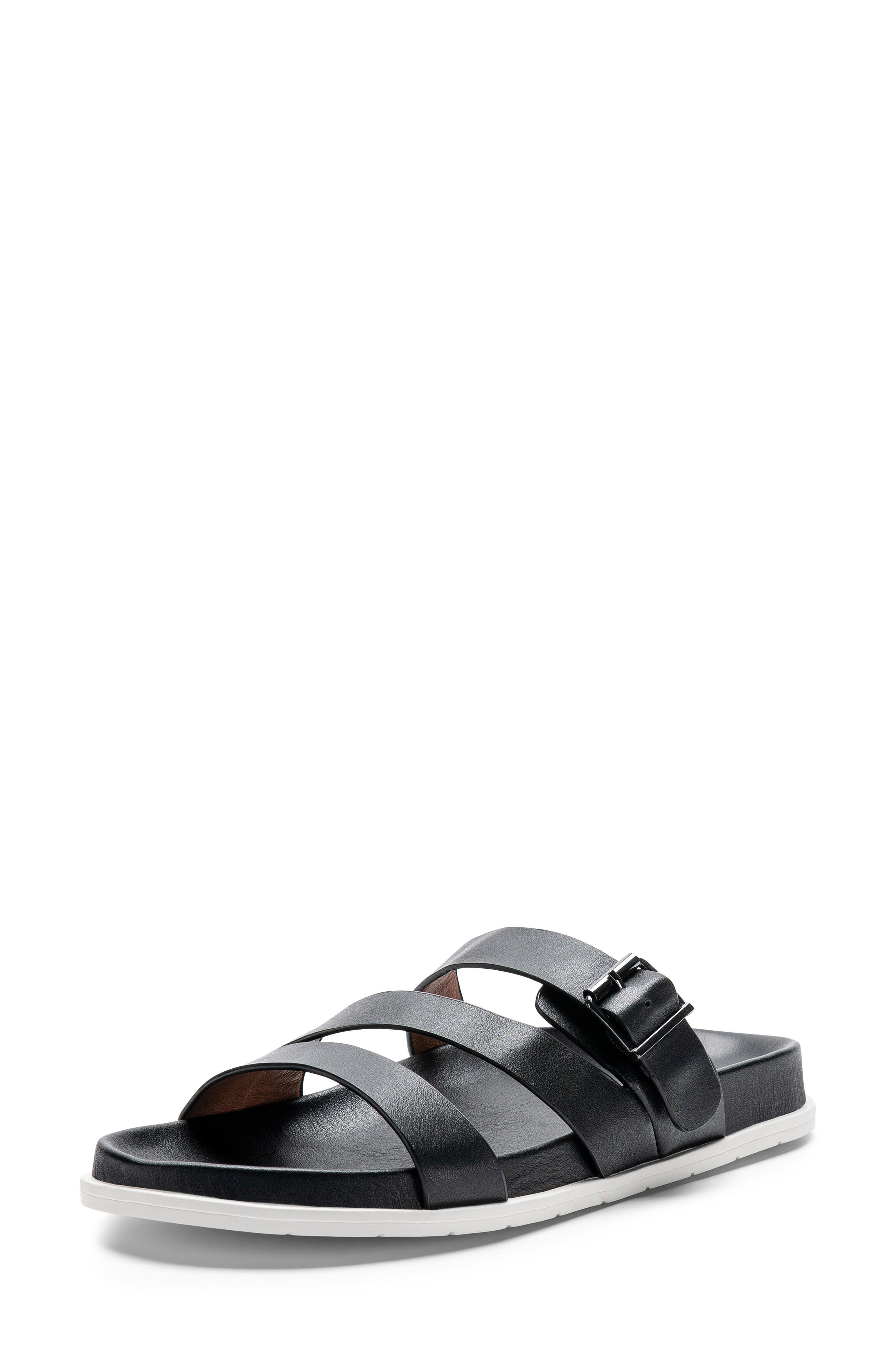 ,                             Selma Waterproof Slide Sandal,                             Alternate thumbnail 8, color,                             BLACK LEATHER