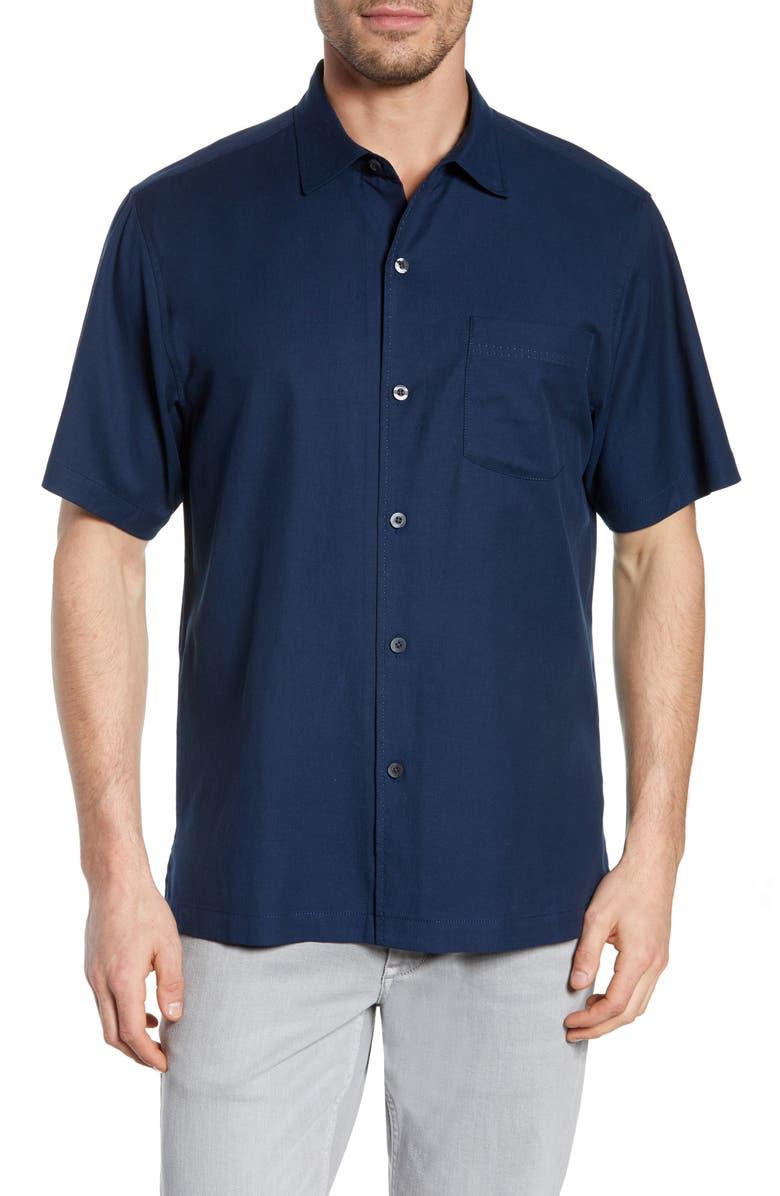 TOMMY BAHAMA Catalina Silk Blend Shirt, Main, color, NAVY