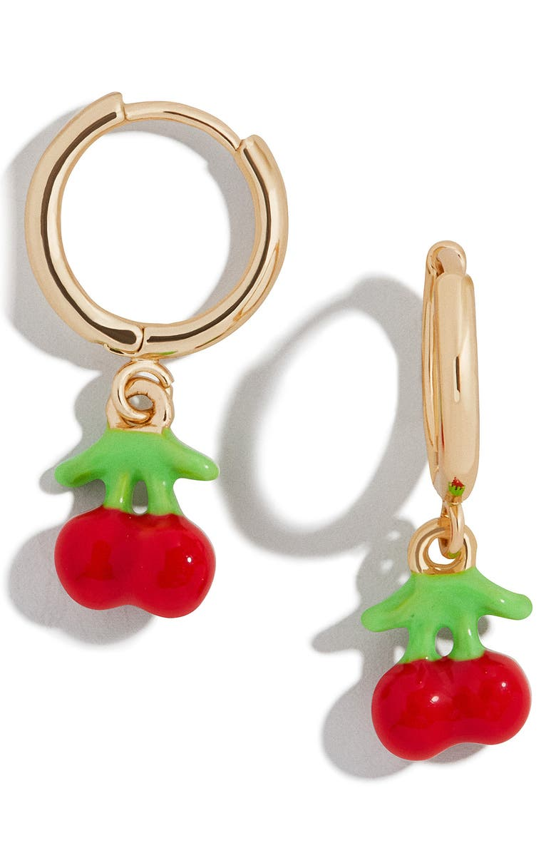 BAUBLEBAR Fruit Drop Huggie Earrings, Main, color, CHERRY