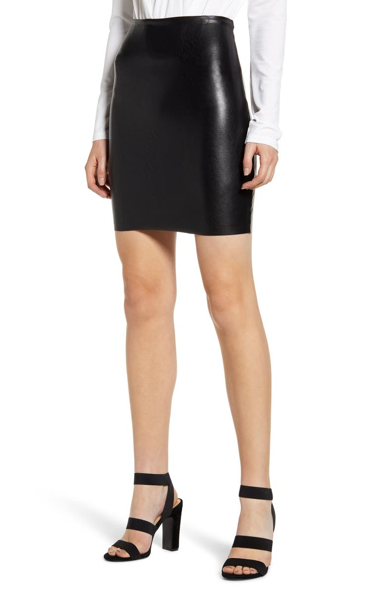 COMMANDO Perfect Control Faux Leather Miniskirt, Main, color, BLACK
