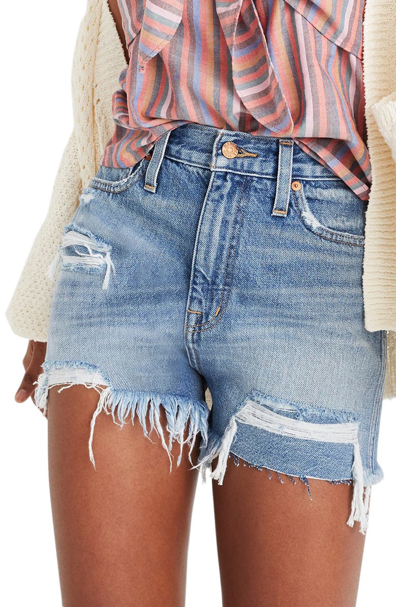 MADEWELL The Momjean Distressed High Waist Shorts, Main, color, 400