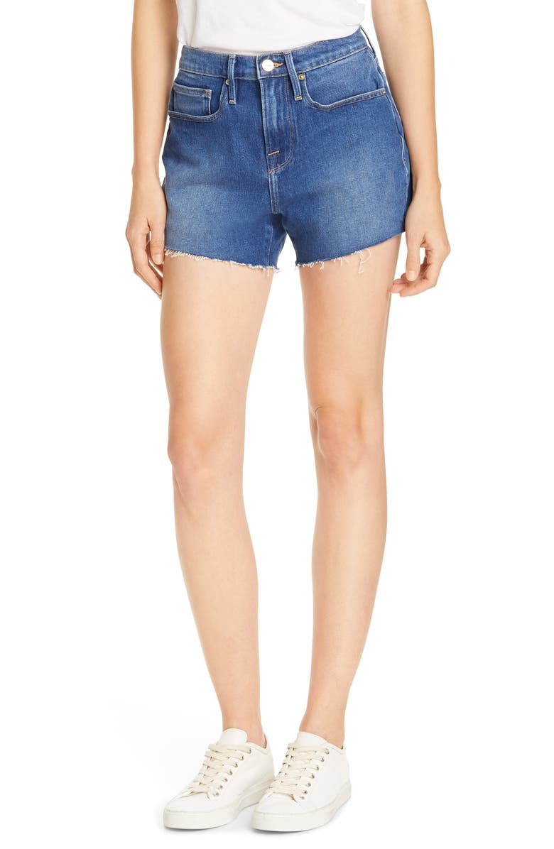 FRAME Le Brigette High Waist Denim Shorts, Main, color, 420