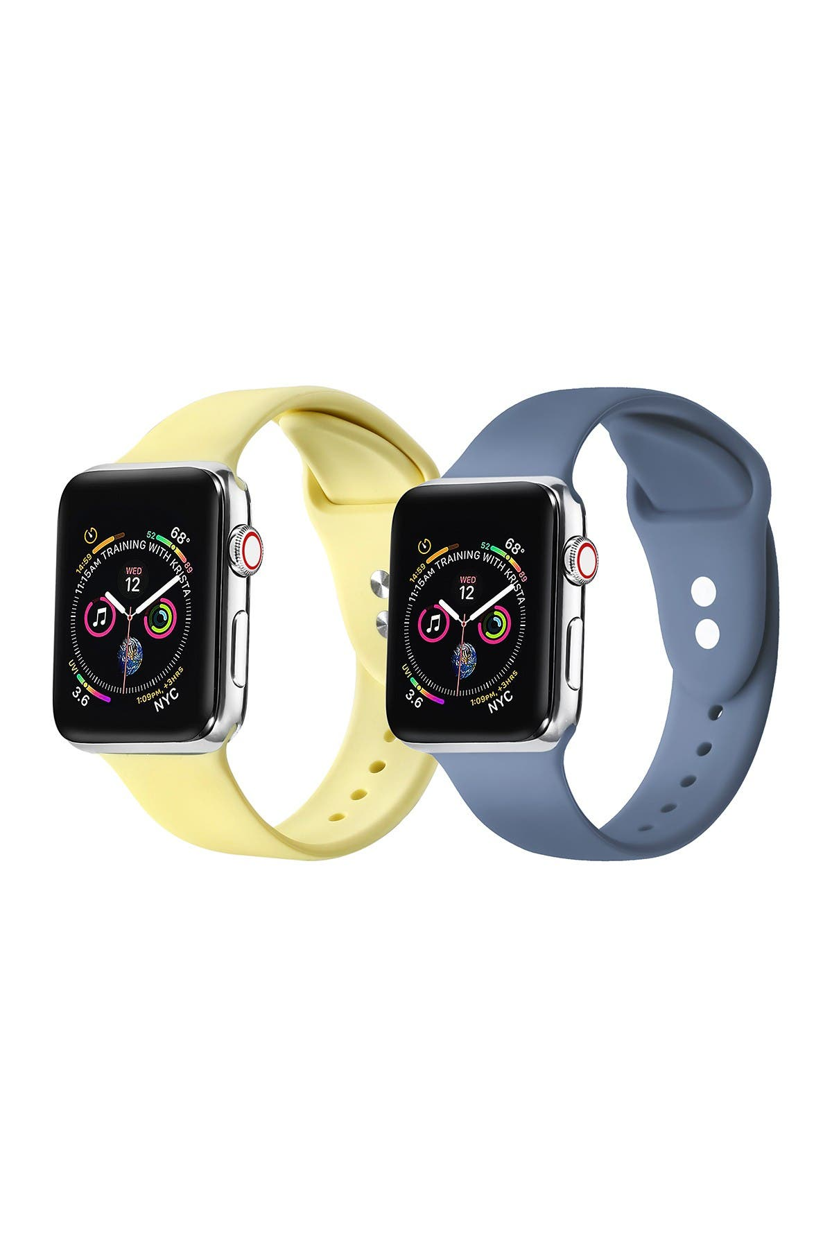 Image of POSH TECH Yellow/Atlantic Blue Apple Watch Replacement Band - Set of 2 - 42mm/44mm
