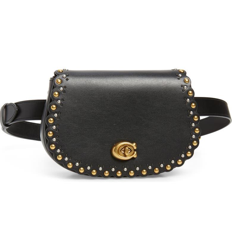 COACH Scallop Rivets Calfskin Leather Belt Bag, Main, color, B4/ BLACK