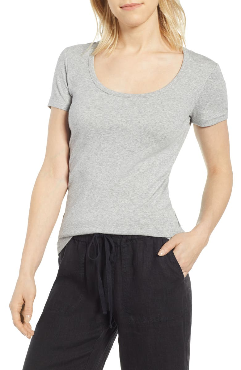 CASLON<SUP>®</SUP> Short Sleeve Scoop Neck Tee, Main, color, GREY HEATHER