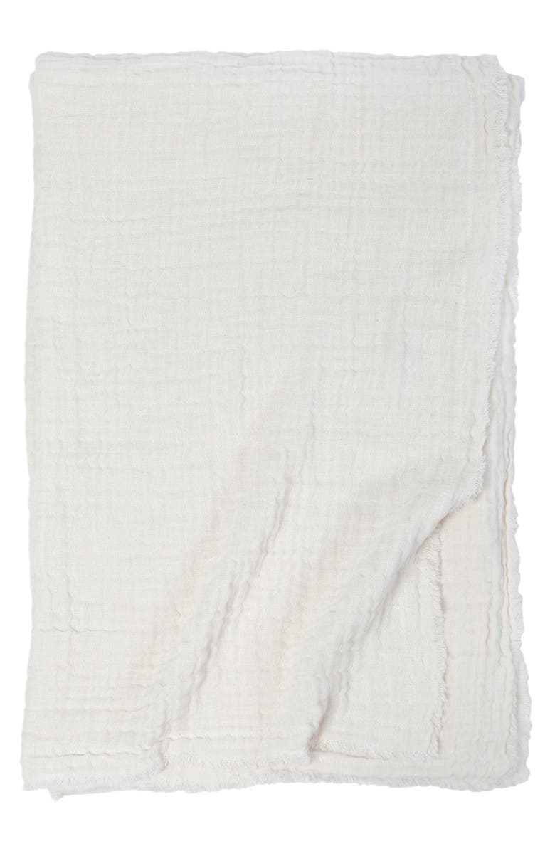 POM POM AT HOME Hermosa Oversized Cotton & Linen Throw Blanket, Main, color, CREAM/ CREAM