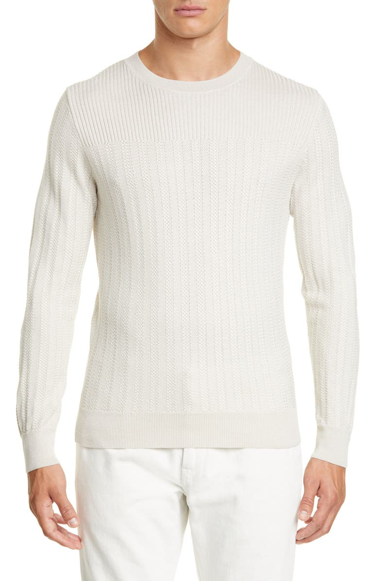 ERMENEGILDO ZEGNA Wool & Silk Crewneck Sweater, Main, color, IVORY