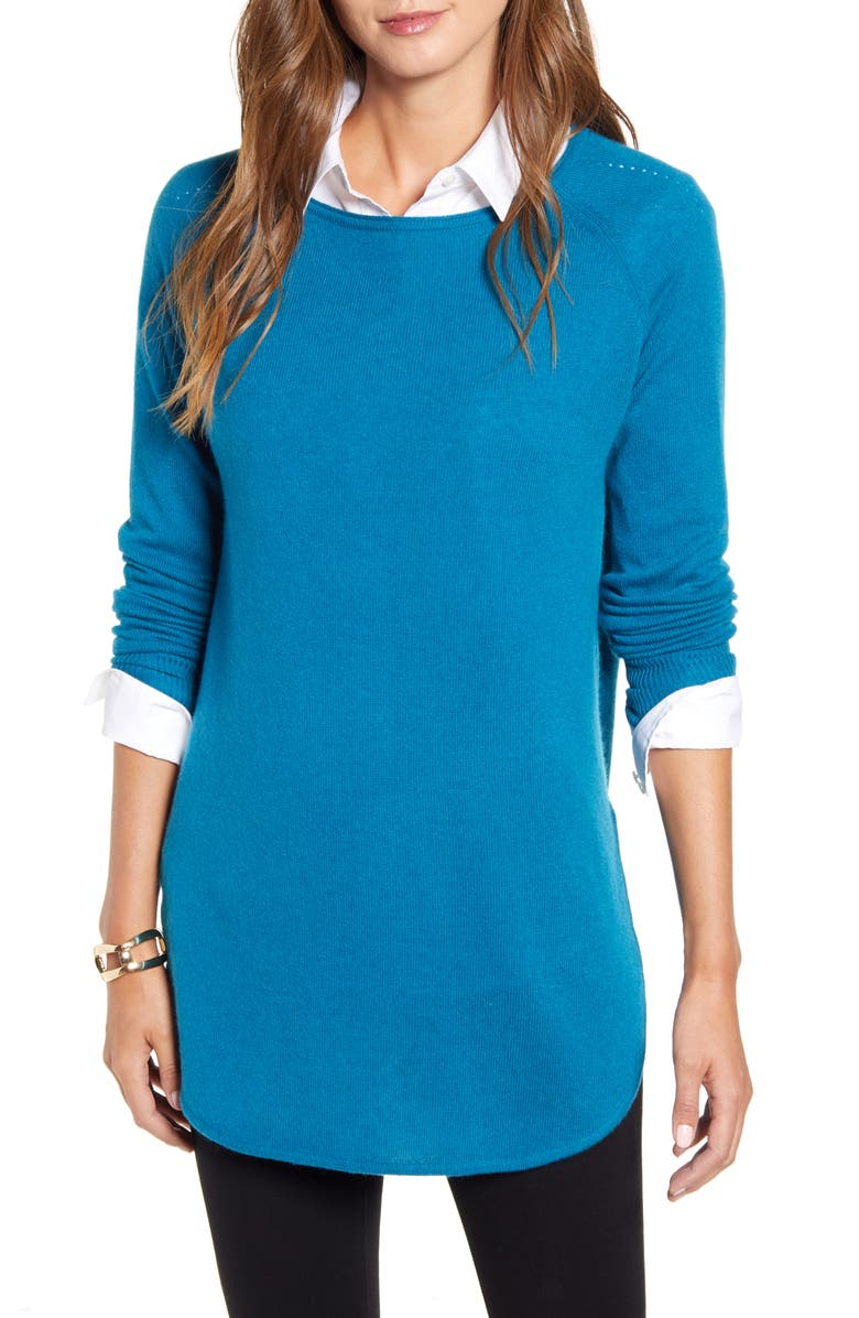 HALOGEN<SUP>®</SUP> Shirttail Wool & Cashmere Boatneck Tunic, Main, color, TEAL