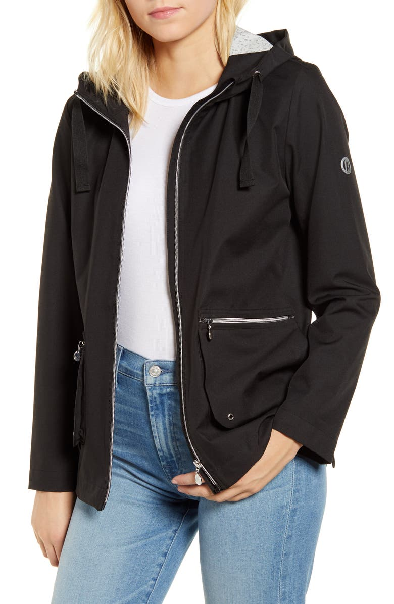 BERNARDO Hooded Rain Jacket, Main, color, BLACK