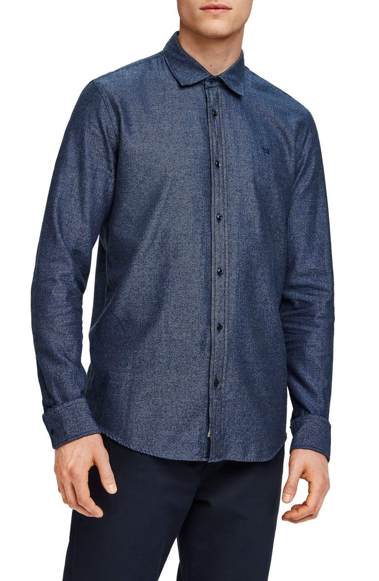 SCOTCH & SODA Slim Fit Chambray Button Up Shirt, Main, color, BLUE MULTI