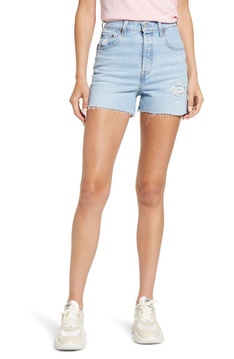 LEVI'S<SUP>®</SUP> Ribcage High Waist Cutoff Denim Shorts, Main, color, TANGO PULSE SHORTS