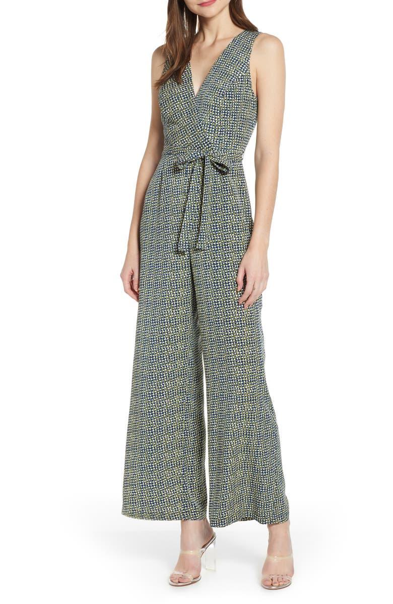 LEITH Sleeveless Tie Waist Jumpsuit, Main, color, 410