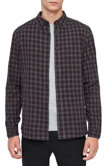 Allsaints Traxler Regular Fit Plaid Button-Up Shirt In Charcoal/ Oxblood