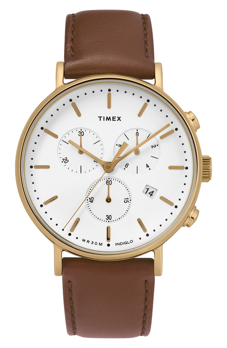 TIMEX<SUP>®</SUP> Fairfield Chronograph Leather Strap Watch, 41mm, Main, color, 200