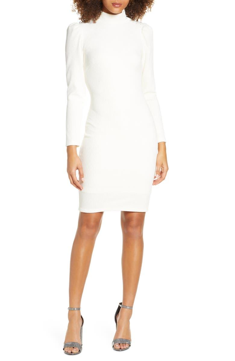 ALI & JAY Veronica Long Sleeve Rib Dress, Main, color, ECRU