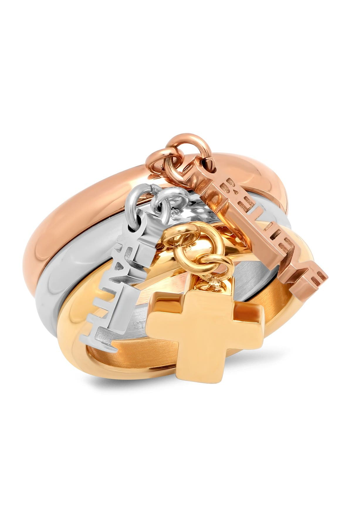 Image of HMY Jewelry Tri-Colored Charm Ring - Set of 3