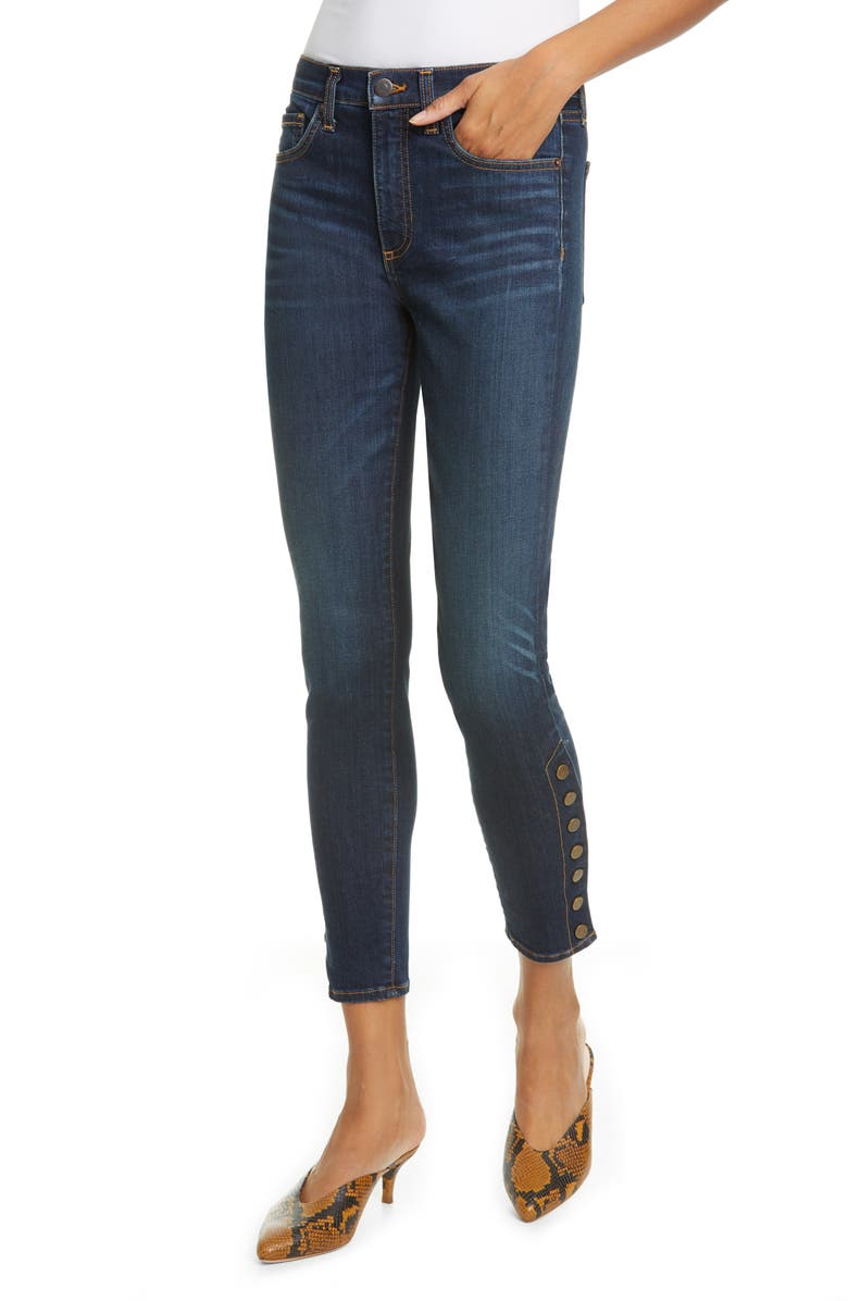 VERONICA BEARD Debbie Side Button High Waist Ankle Skinny Jeans, Main, color, DARK VINTAGE