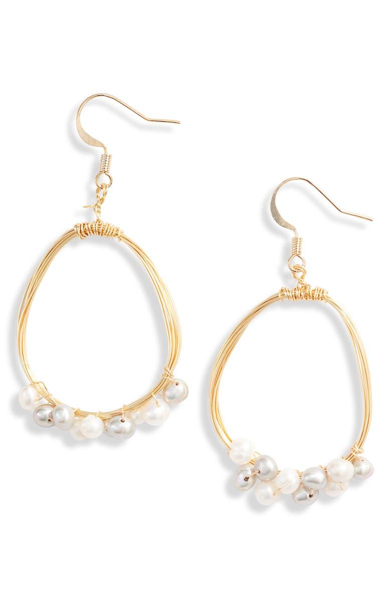TEN79LA Freshwater Pearl Drop Earrings, Main, color, GOLD