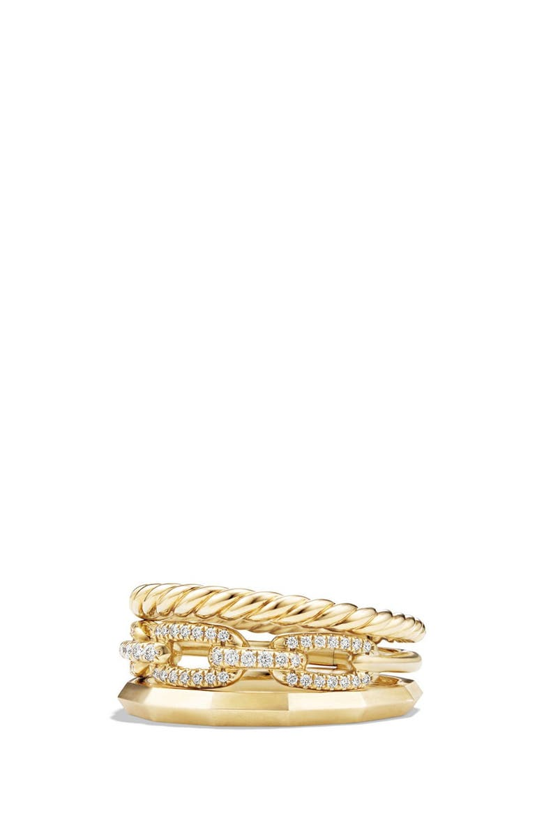 DAVID YURMAN 'Stax' Narrow Diamond Ring, Main, color, YELLOW GOLD