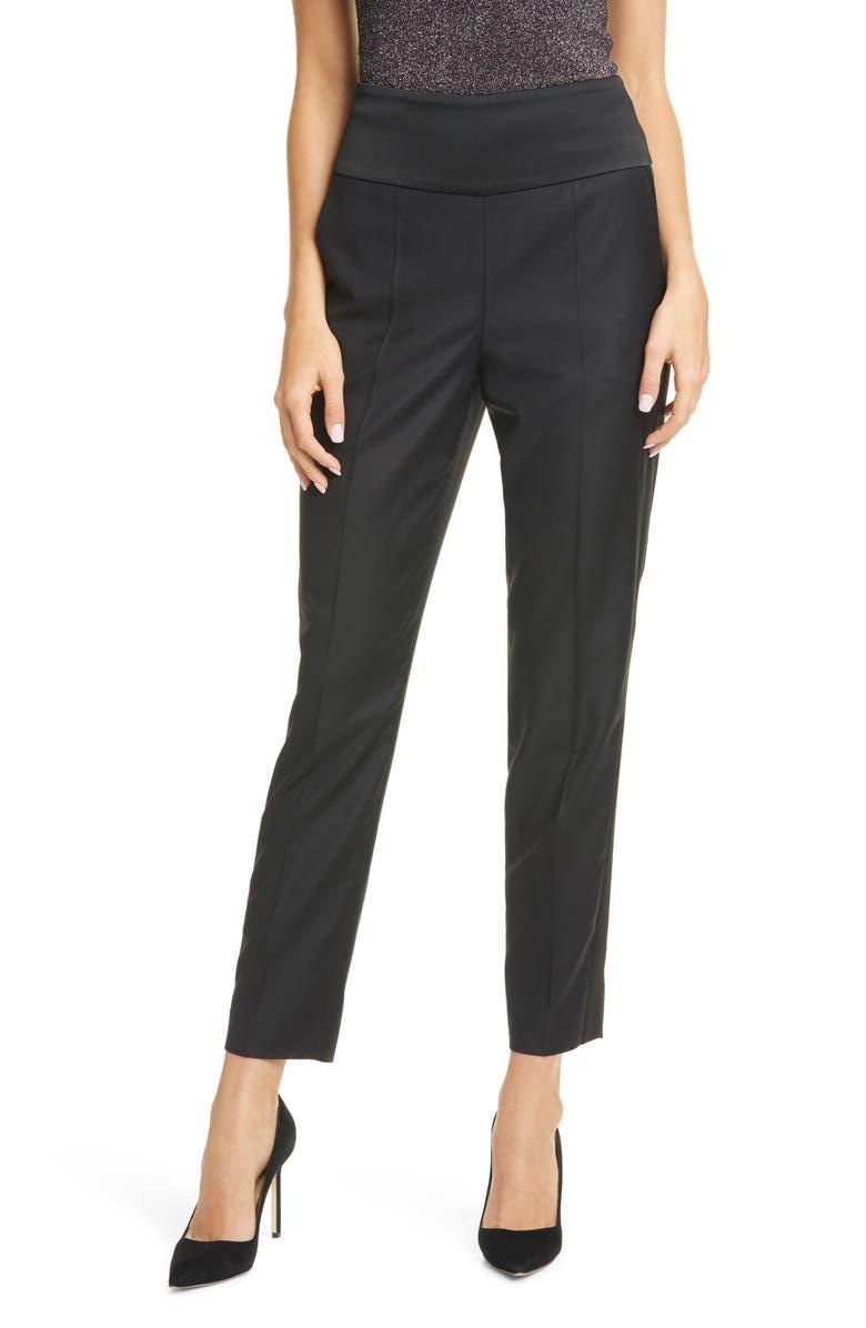 BOSS Tilunalyn Pintuck Side Stripe Wool Blend Trousers, Main, color, BLACK