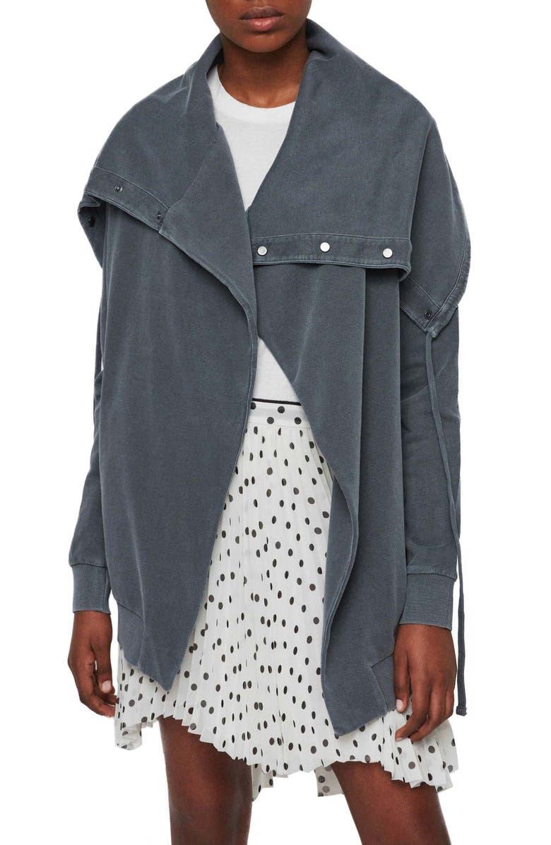 ALLSAINTS Brooke Knit Jacket, Main, color, WASHED BLACK