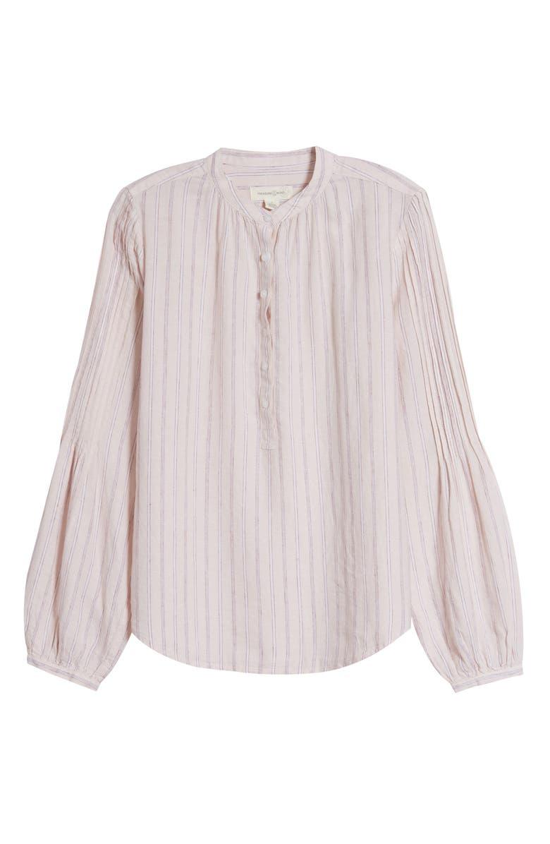 TREASURE & BOND Pleat Sleeve Woven Top, Main, color, PINK- WHITE LARCH STRIPE