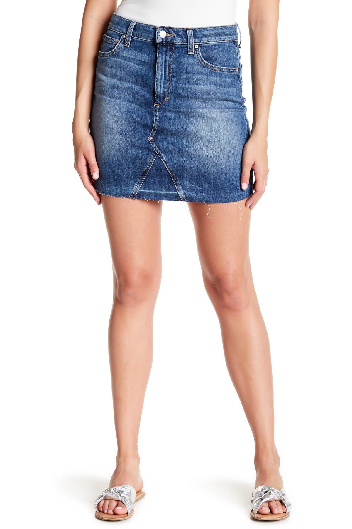 Image of Joe's Jeans Release Hem A-Line Denim Mini Skirt