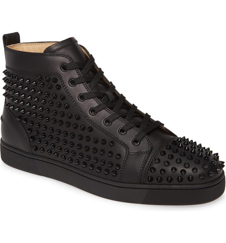 CHRISTIAN LOUBOUTIN Louis Allover Spikes High Top Sneaker, Main, color, BLACK/BLACK