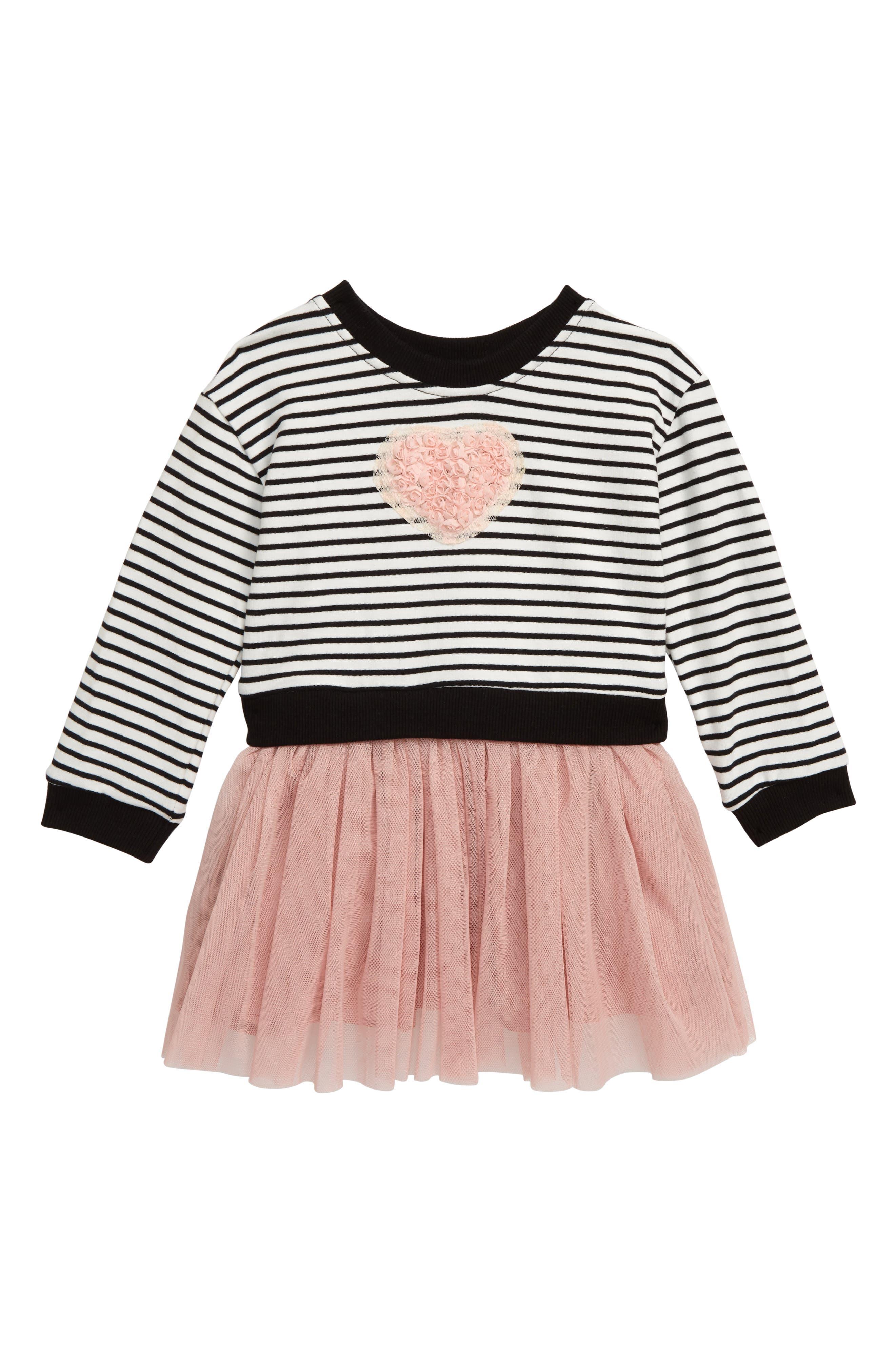 Image of Popatu Stripe Bodice Tulle Skirted Dress