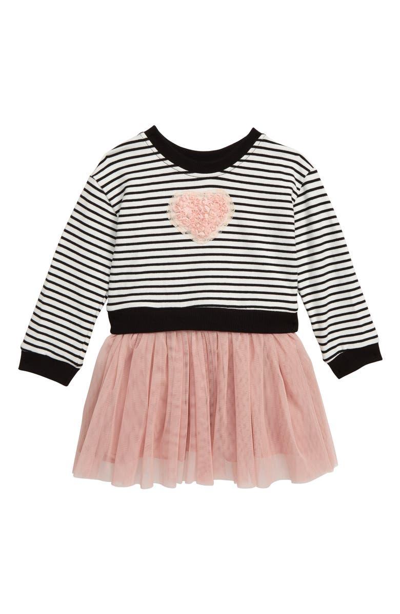 POPATU Stripe Floral Heart Appliqué Tulle Dress, Main, color, BLACK/ PEACH