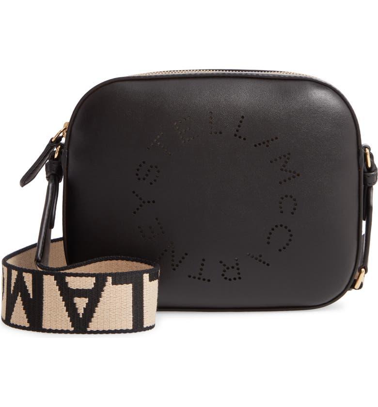 STELLA MCCARTNEY Mini Perforated Logo Alter Nappa Faux Leather Camera Bag, Main, color, BLACK