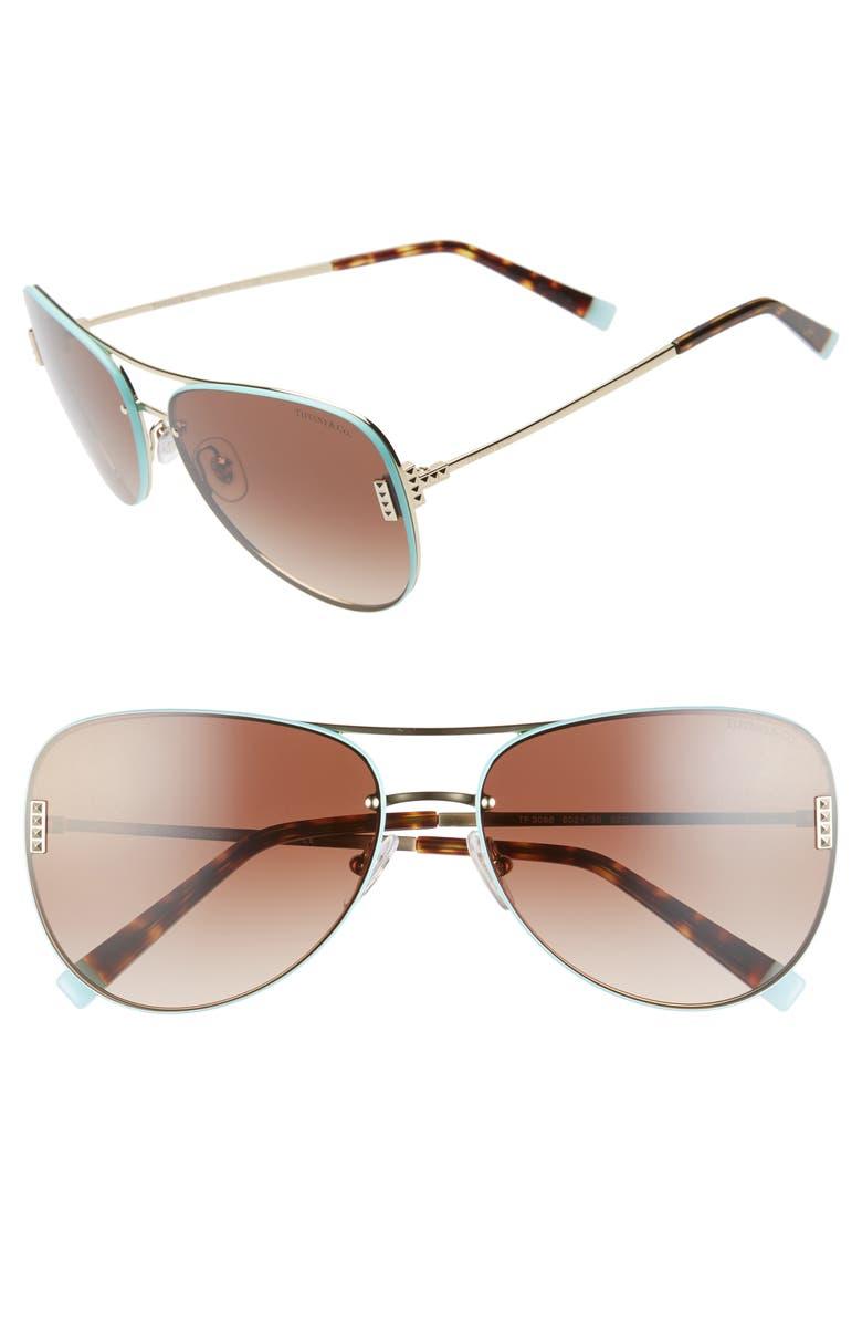 TIFFANY & CO. 62mm Aviator Sunglasses, Main, color, PALE GOLD/ BLUE/ BROWN GRAD