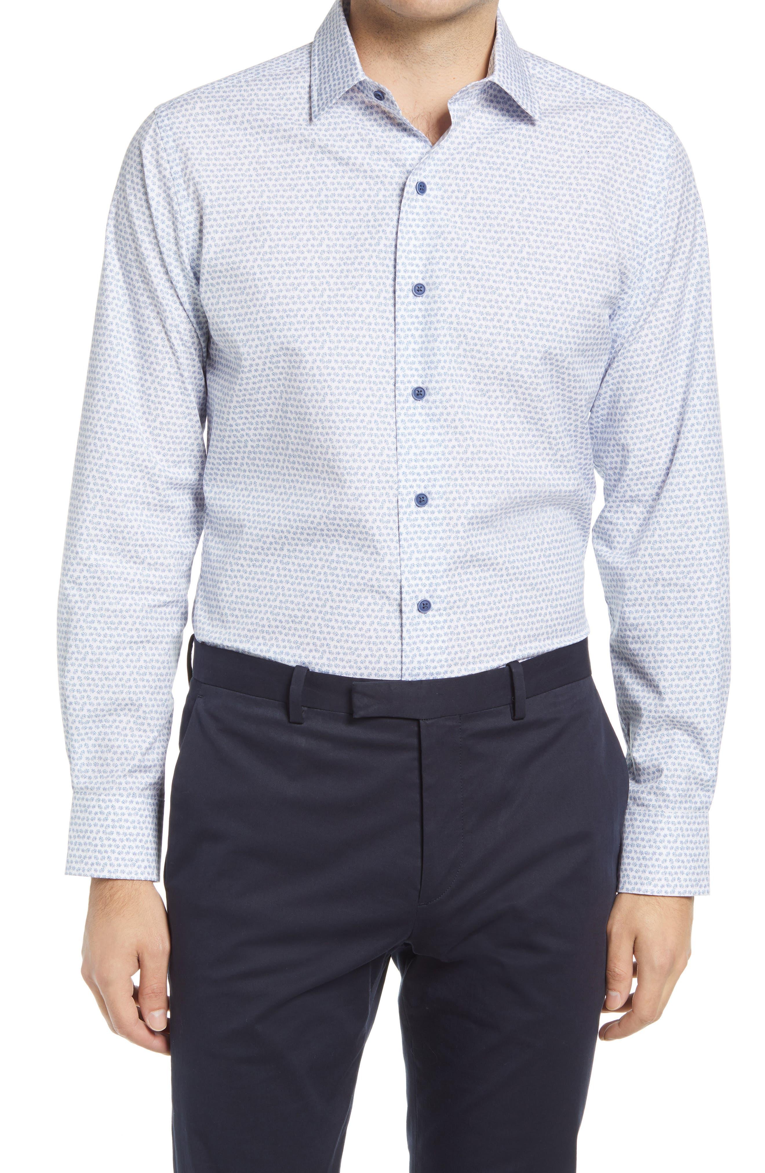Men's Big & Tall David Donohue Trim Fit Microprint Dress Shirt