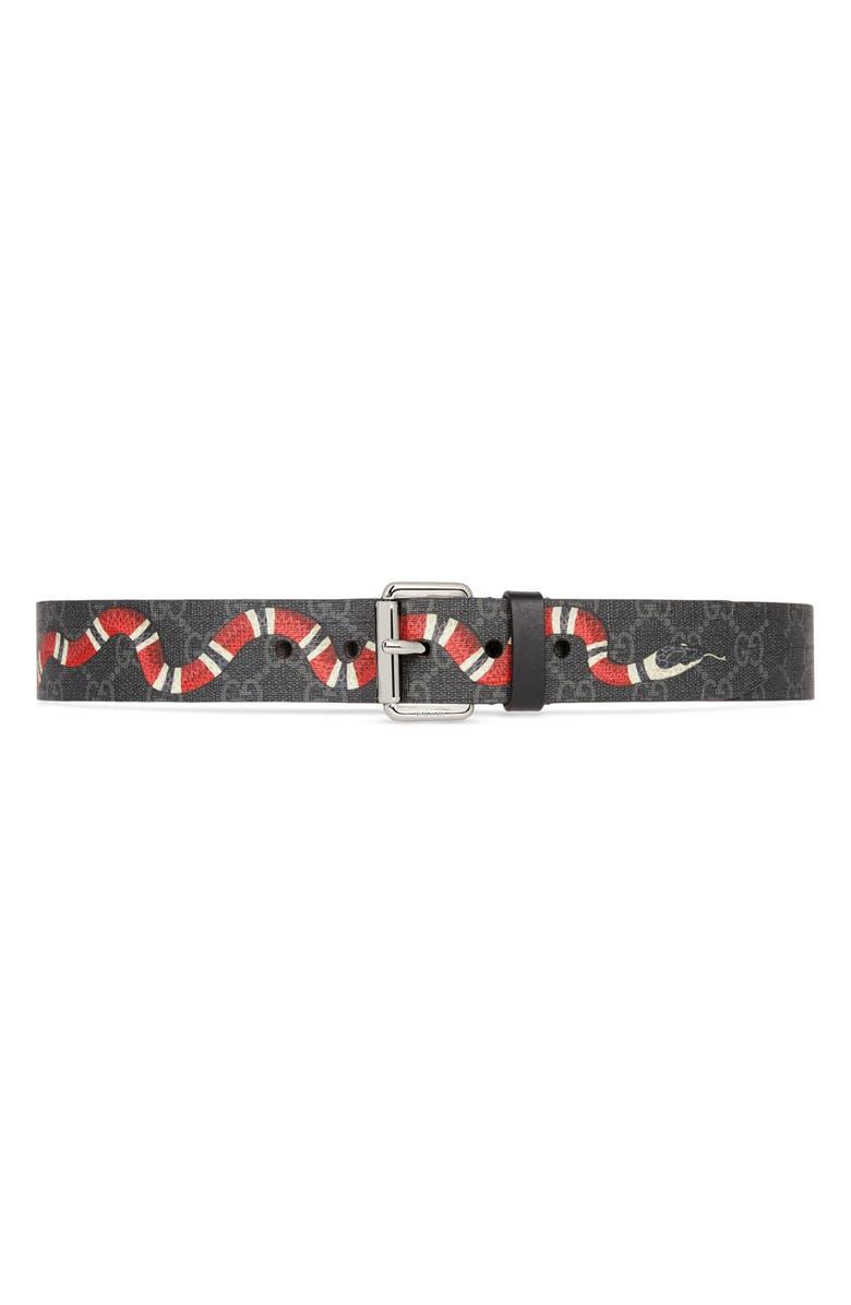 GUCCI GG Supreme Kingsnake Canvas Belt, Main, color, BLACK MULTI/BLACK