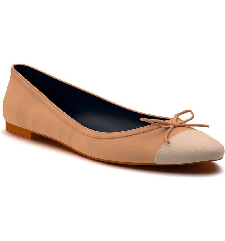 SHOES OF PREY Cap Toe Ballet Flat, Main, color, 250