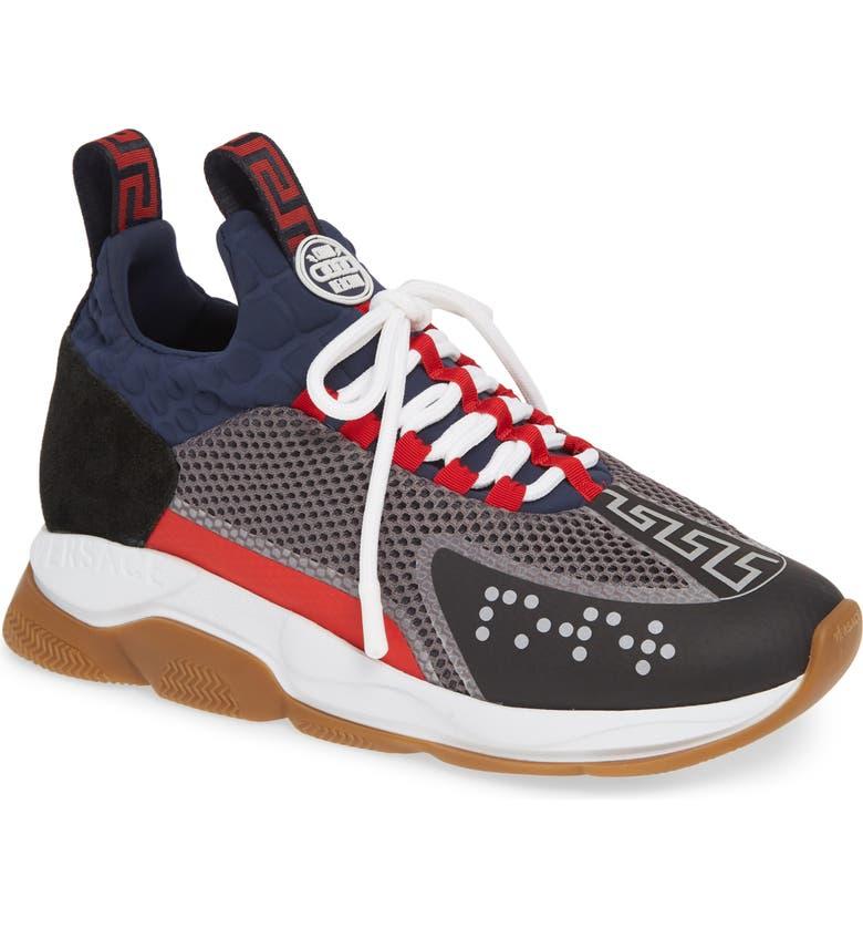 VERSACE Cross Chainer Neoprene Sneaker, Main, color, NERO/ NAVY/ MUSHROOM