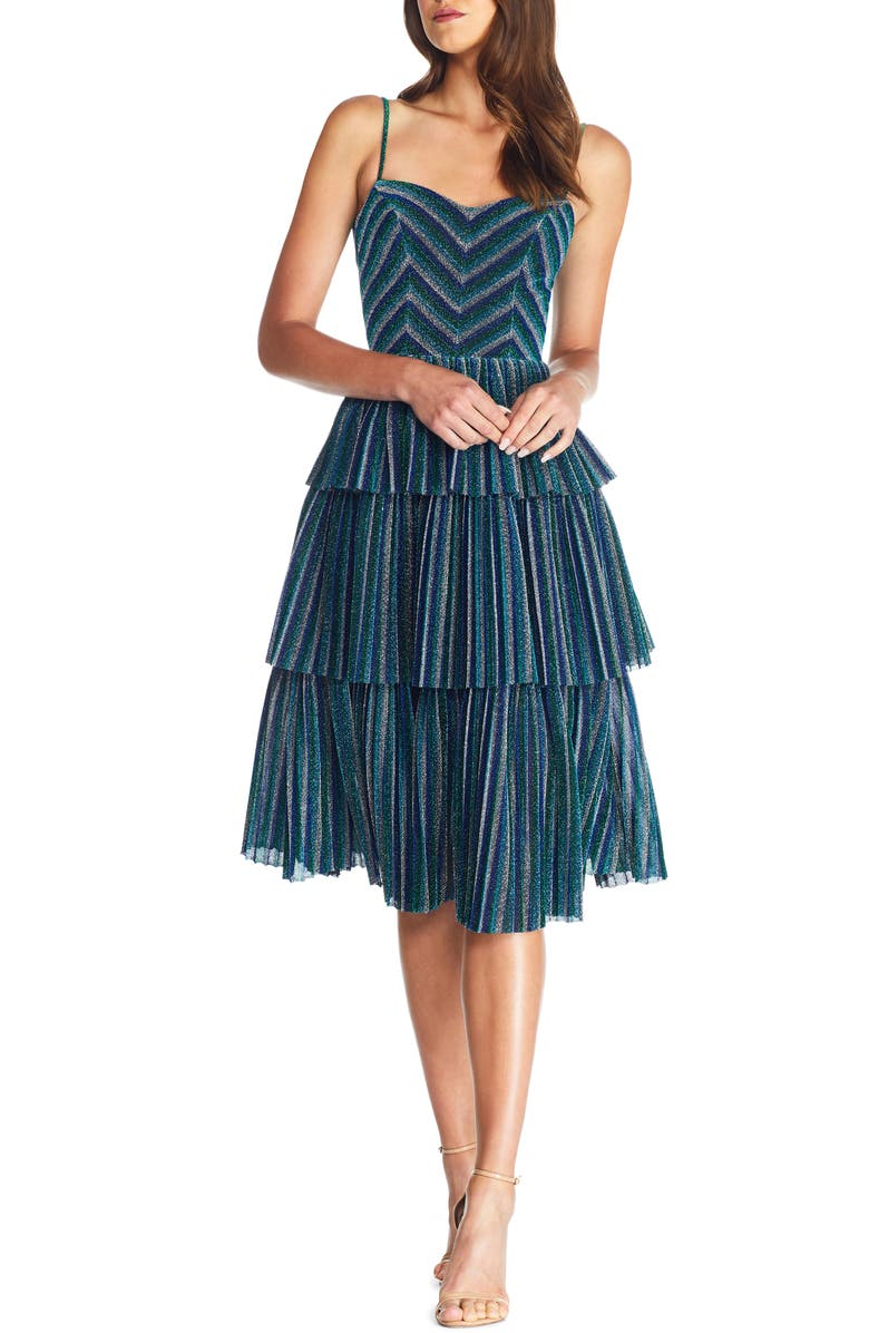 DRESS THE POPULATION Kathy Glitter Stripe Tiered Ruffle Cocktail Dress, Main, color, ELECTRIC BLUE MULTI