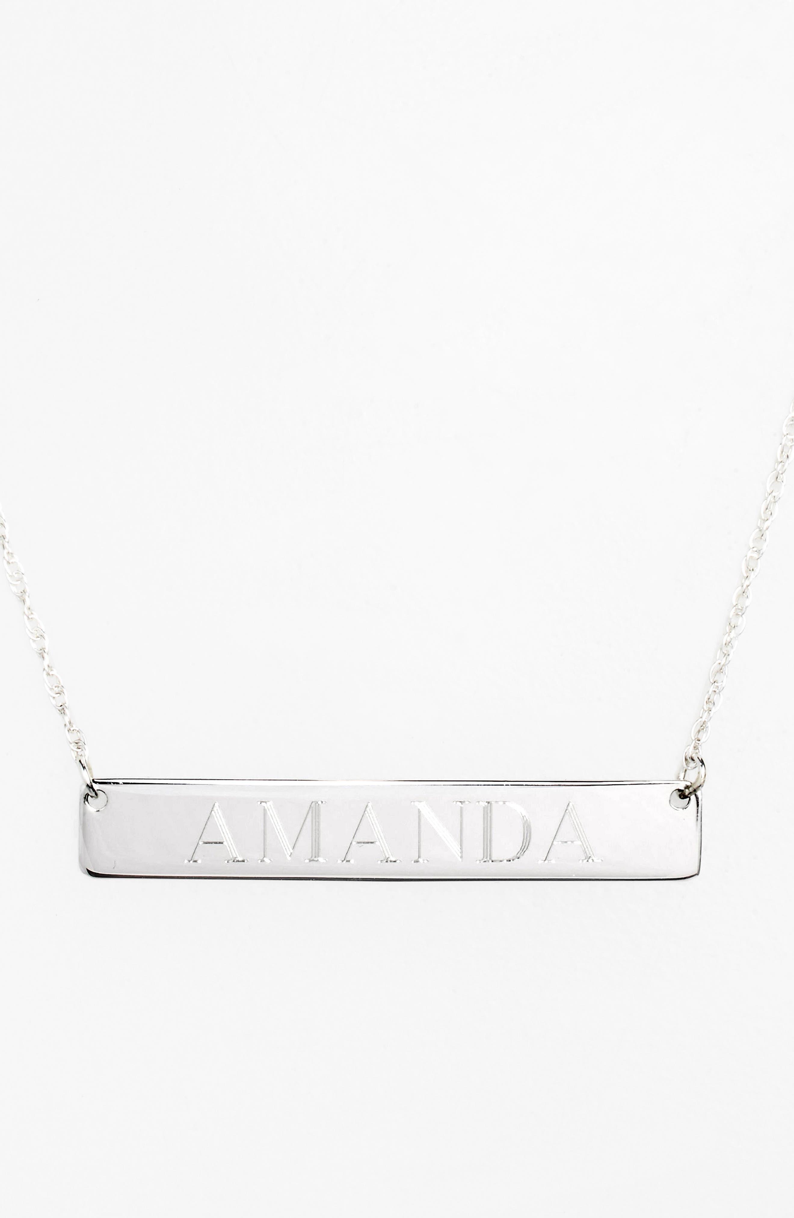 ,                             Personalized Bar Pendant Necklace,                             Alternate thumbnail 4, color,                             SILVER