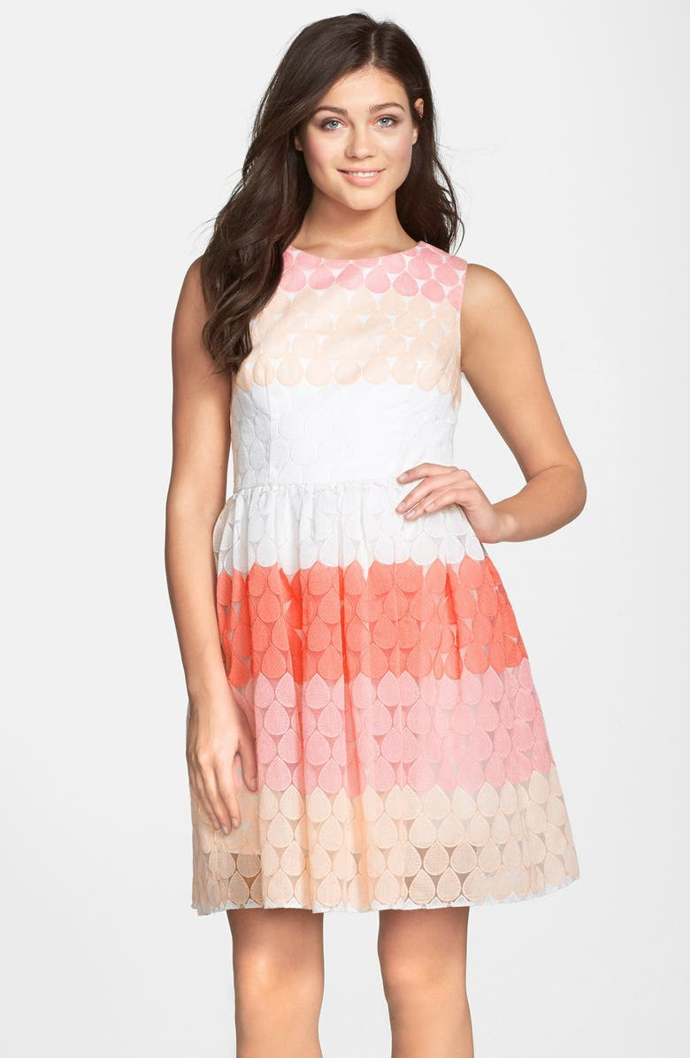 BETSEY JOHNSON Stripe Embroidered Fit & Flare Dress, Main, color, 624