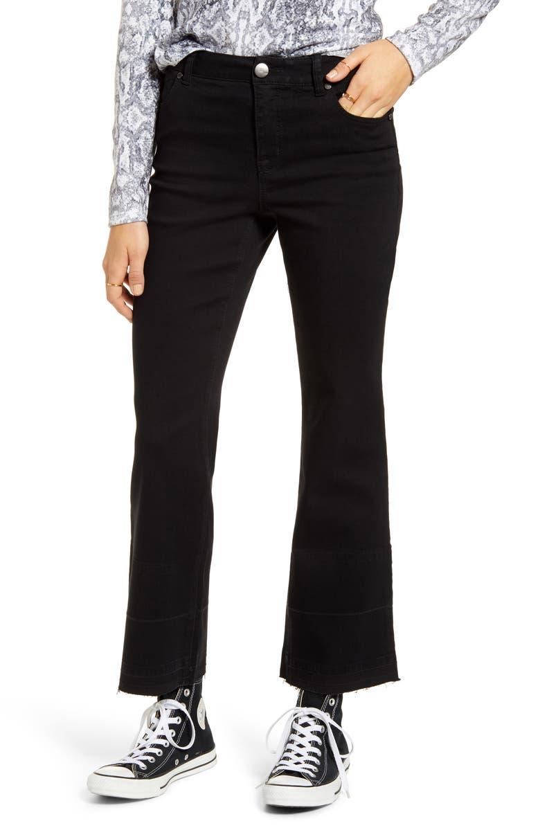 1822 DENIM High Waist Flare Leg Release Hem Jeans, Main, color, BLACK
