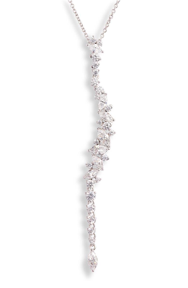 NADRI Tango Linear Pendant Necklace, Main, color, RHODIUM
