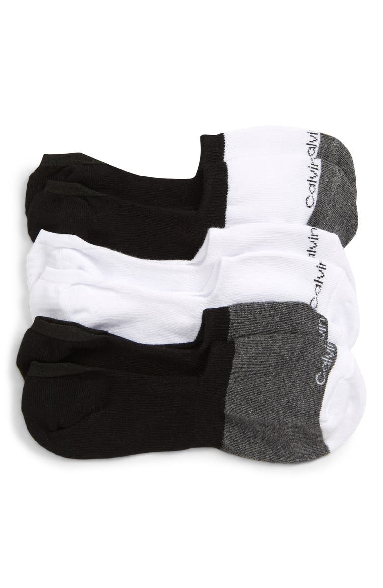 CALVIN KLEIN 3-Pack No-Show Socks, Main, color, WHITE