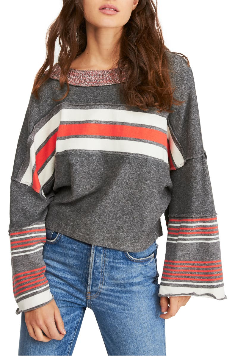 FREE PEOPLE Cooper Stripe Bell Sleeve Top, Main, color, GREY