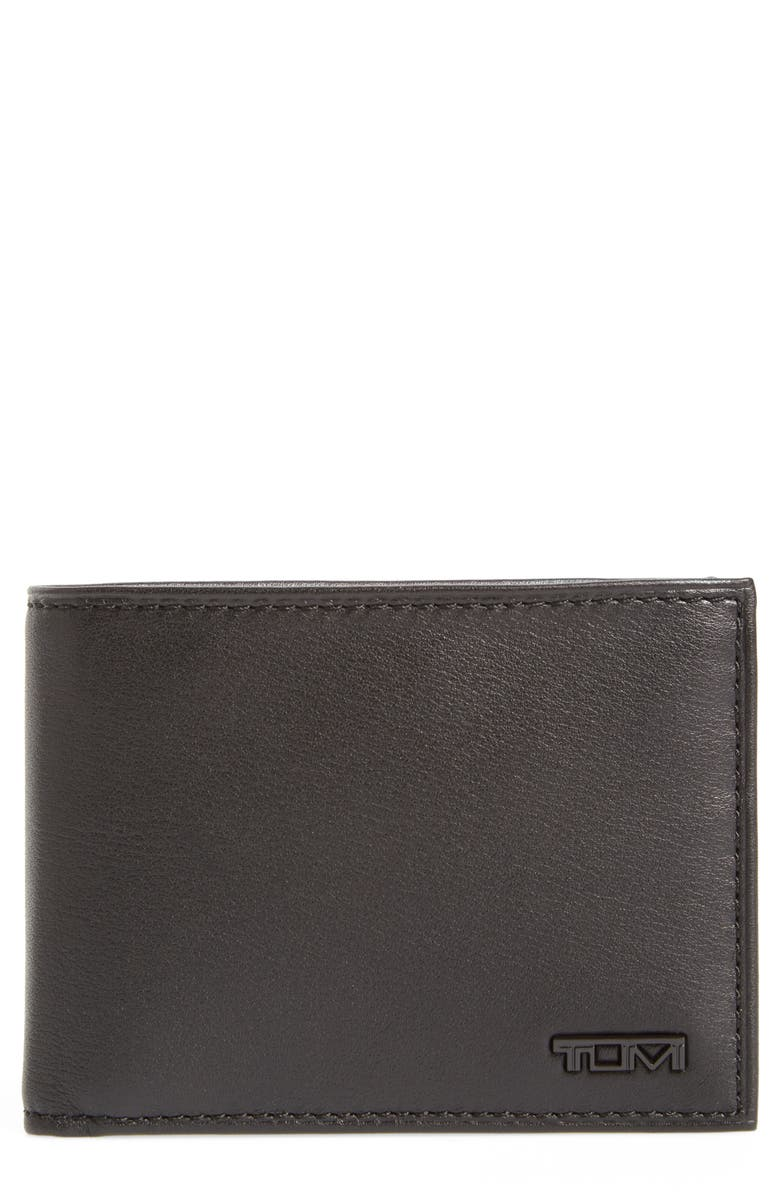 TUMI Delta Double ID Lock<sup>™</sup> Shielded Leather Wallet, Main, color, BLACK