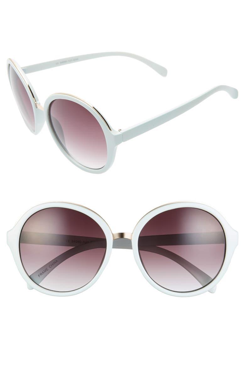 BP. 55mm Oversize Round Sunglasses, Main, color, LIGHT BLUE/ BLACK