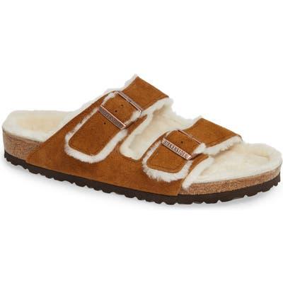 Birkenstock Arizona Slide Sandal With Genuine Shearling, Brown