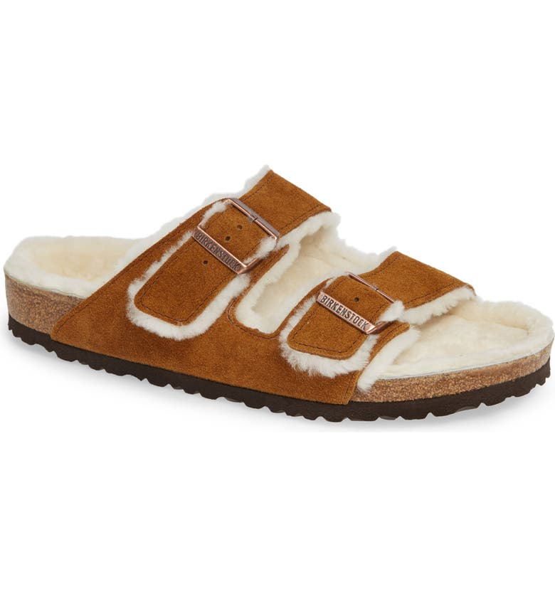 BIRKENSTOCK Arizona Slide Sandal with Genuine Shearling, Main, color, BEIGE