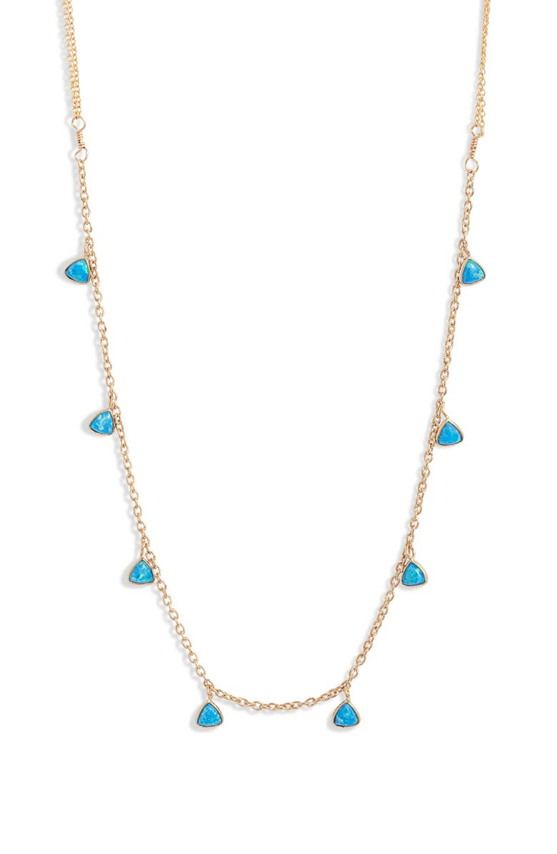 SET & STONES Greycie Shaker Station Necklace, Main, color, GOLD/ BLUE